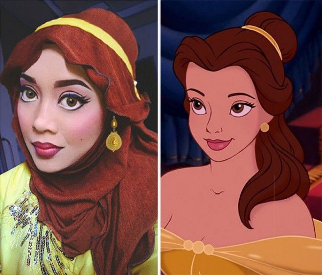 com hijab mulher se tranforma em princesas da disney bela