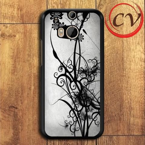 Abstract Beautiful Black Pattern HTC One M8 Mini Black Case