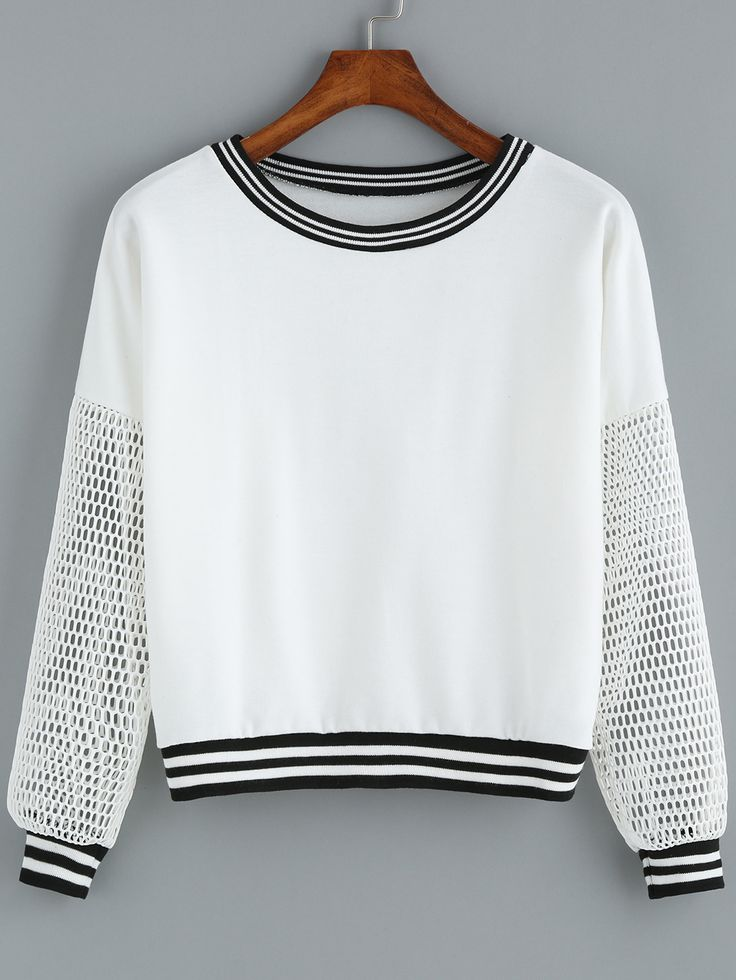 White Round Neck Grid Sleeve Crop Sweatshirt