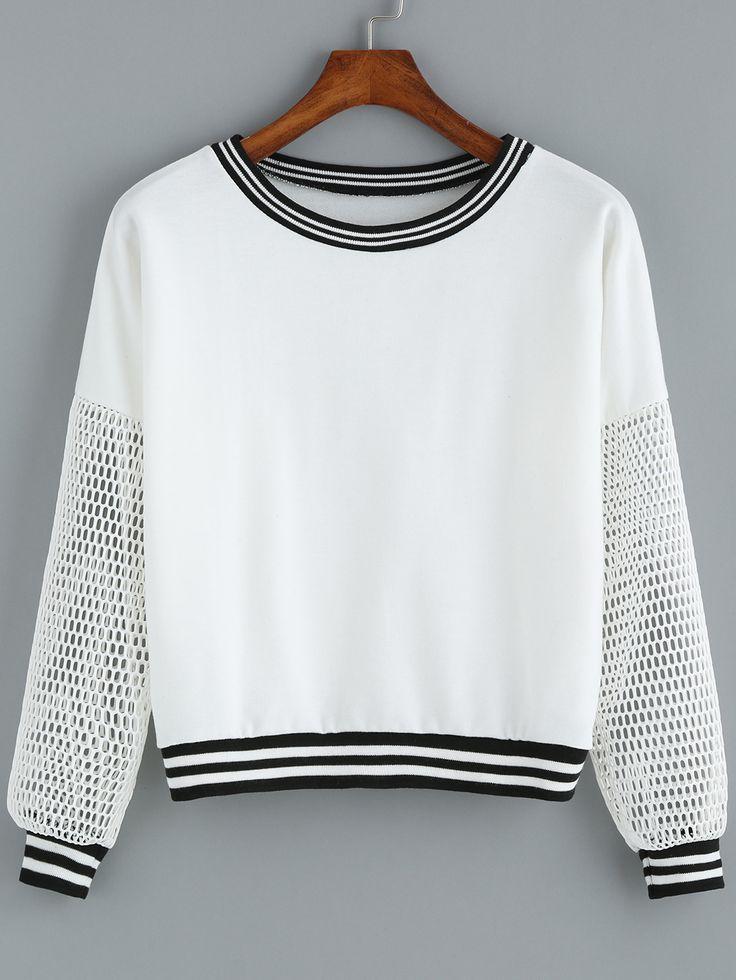 White Round Neck Grid Sleeve Crop Sweatshirt