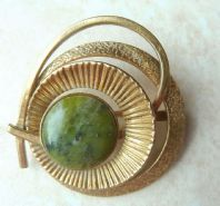 Vintage Abstract 50's Green Marble Stone Brooch