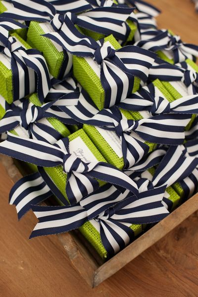 Striped Ribbon and Lime Green Packaging for Wedding Favors