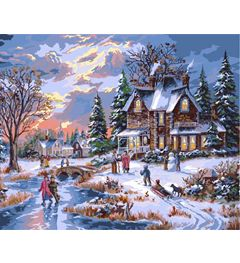 winter pictures paint by number | Plaid ® Paint by Number - The Glow of Winter Lights