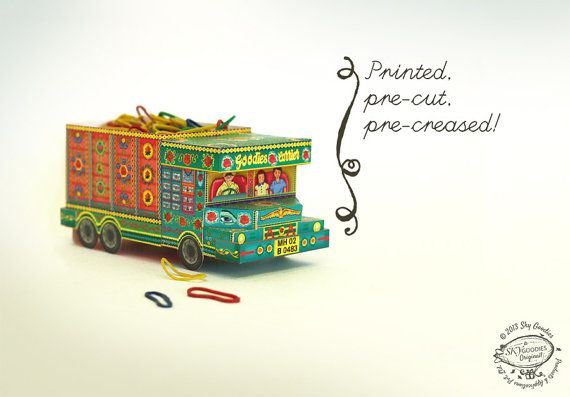 Printed DIY Paper Toy /Favor Box | 'Goodies Carrier' Trucks from India GREEN | Printed, Pre-cut, Pre-creased & Ready-to-use | Asian Souvenir $4.99 USD  by SkyGoodies, based in Mumbai, India, and selling on Etsy