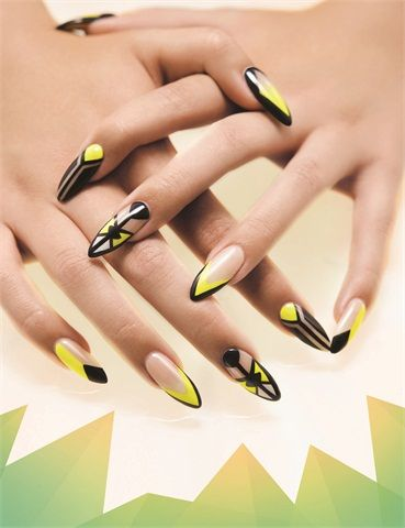 Almond shape nails yellow n black nails with negative spaces