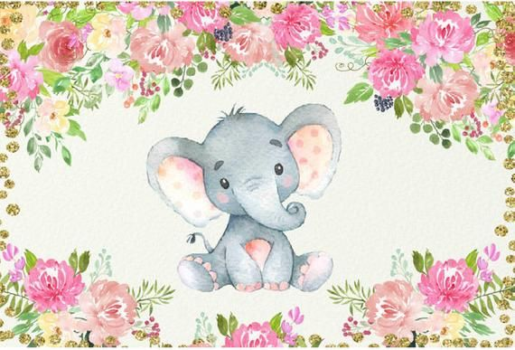 Cute Elephant Baby Shower Backdrop Vinyl Elephant Photography Background 7x5ft
