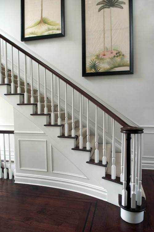 I like the finishing trim under these stairs: Idea, Bannister,  Balustrade, Traditional Stairca, Stairca Design,  Handrail,  Banister, Stairs Design,  Balusters