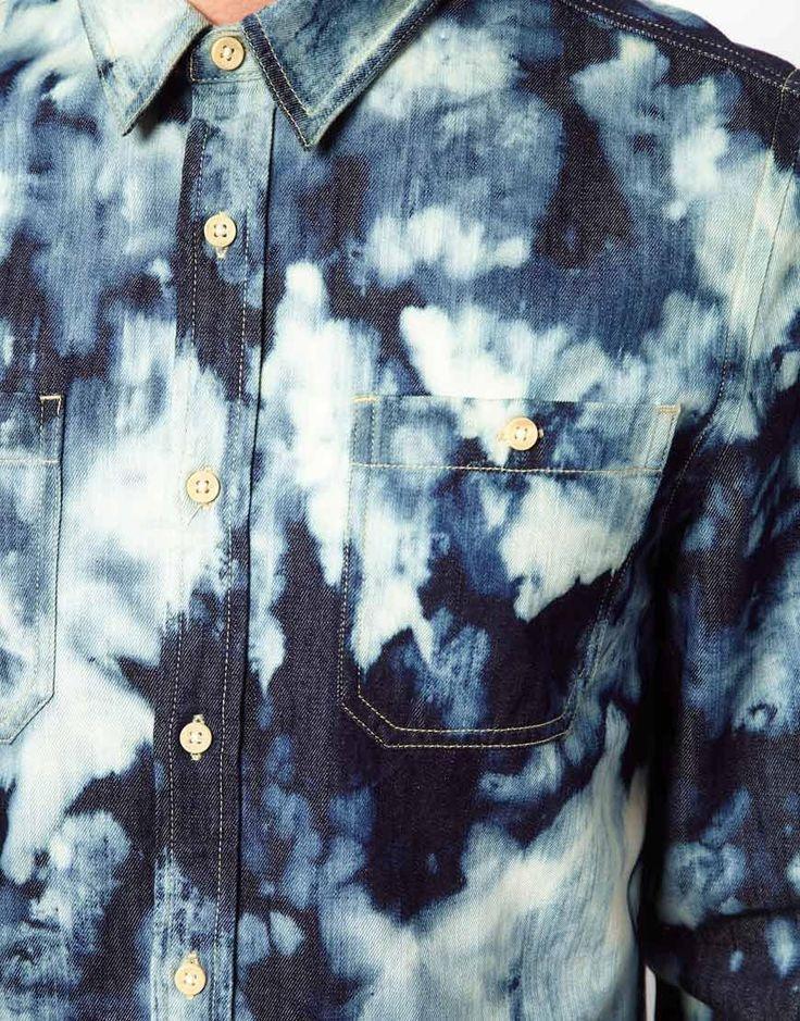 ASOS | ASOS Denim Shirt With Tie Dye at ASOS