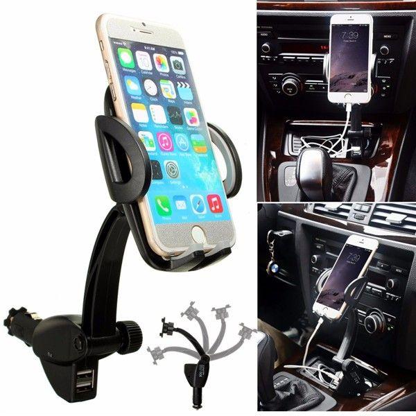 360 Degrees Adjustable 2 USB Port Charger Car Mount Holder Stand For Mobile Phone GPS