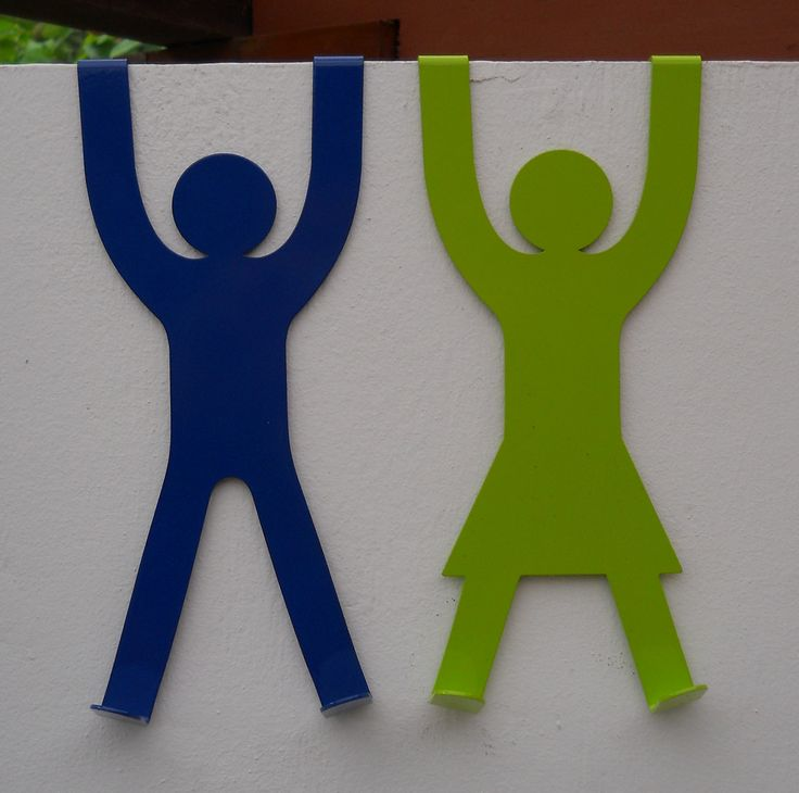 """Clever Design - """"His"""" & """"Hers"""" Door Hooks in a wide range of colours from www.nest-homegrown.co.za"""