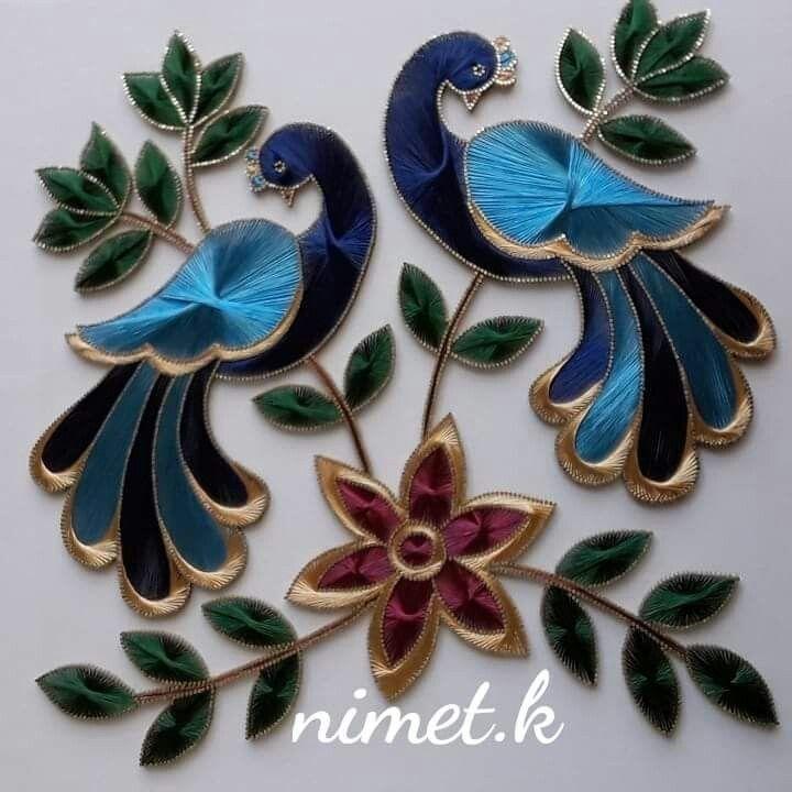لوحات فنية بالخيط جميلة جدا Ip Sanati Kus Sanat Sanat Desen