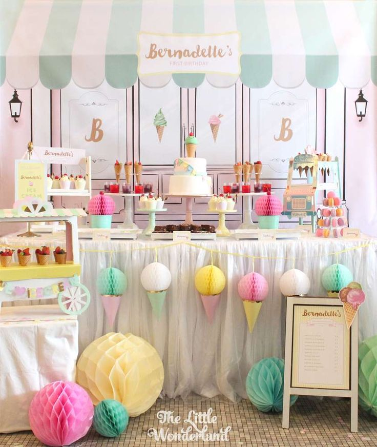 Stunning ice cream birthday party! See more party planning ideas at CatchMyParty.com!