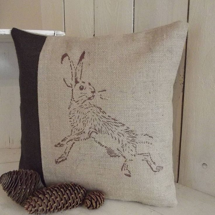 chocolate hare hessian cushion by rustic country crafts | notonthehighstreet.com