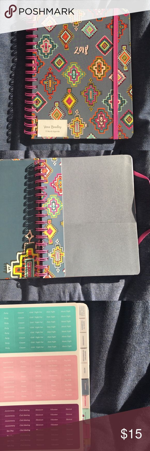 Vera Bradley 17 month planner Vera Bradley 17 month planner August 2017 - December 2018 Monthly calendar overview with weekly planning pages Includes front pocket and moveable ruler Has tabs in front with stickers, holidays & 3 year calendar, dates to celebrate, addresses, important info, and notes Vera Bradley Other