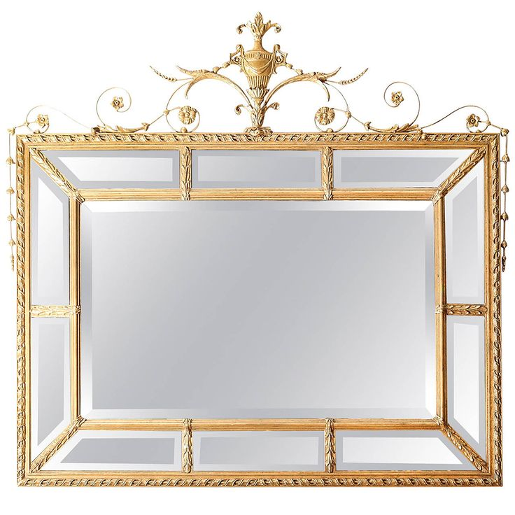 Vintage Adam Style Mirror with Beveled Panels | From a unique collection of antique and modern wall mirrors at https://www.1stdibs.com/furniture/mirrors/wall-mirrors/