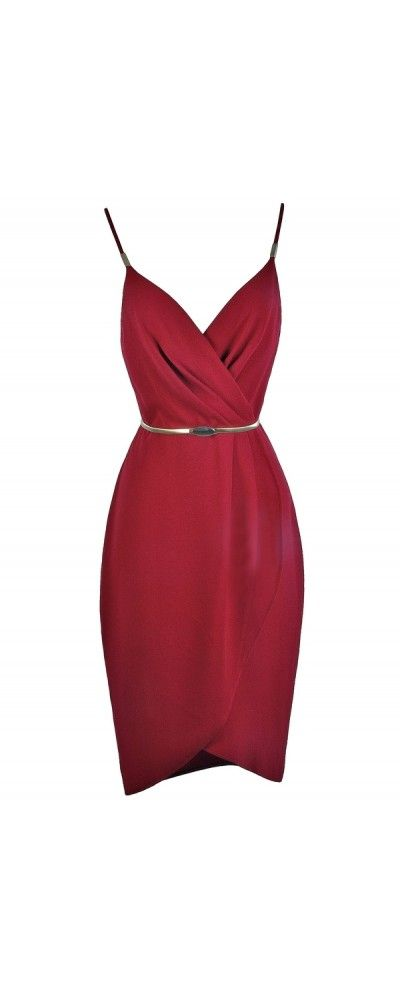 Lily Boutique All Wrapped Up Belted Dress in Burgundy, $45 Red Party Dress | Red Cocktail Dress | Holiday Dress | www.lilyboutique.com
