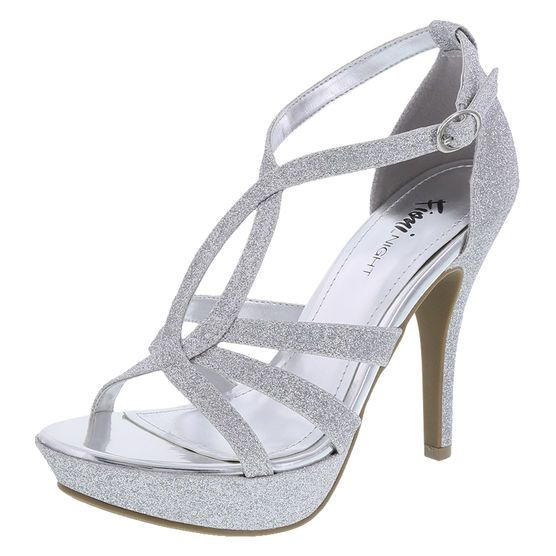"The perfect platform pump for that perfect special occasion! This Fioni Night number features a glittered strappy upper, adjustable ankle strap, padded footbed, 4 1/2"" heel with 1"" platform, and a rubber outsole. Manmade materials."