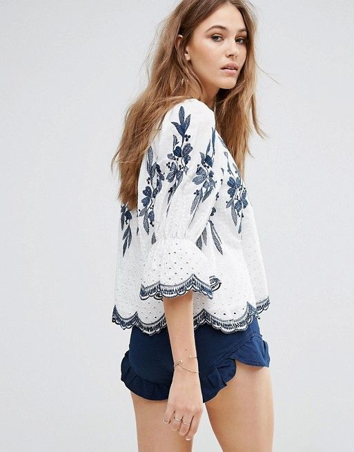 Moon River Embroidered Top