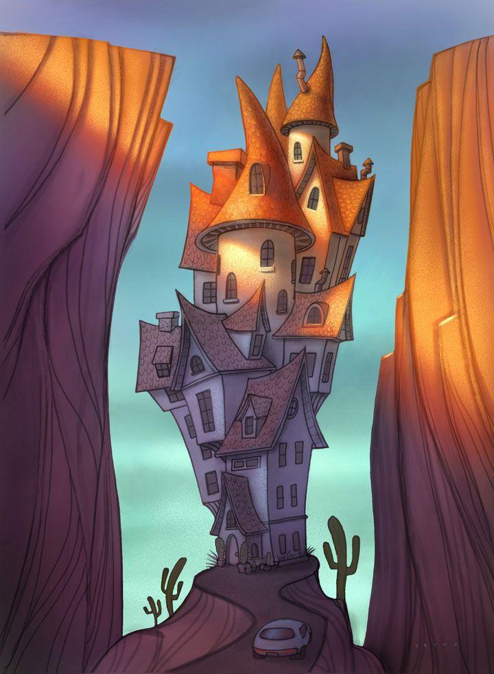 Will Terry Illustrator: Tall house, digital illustration