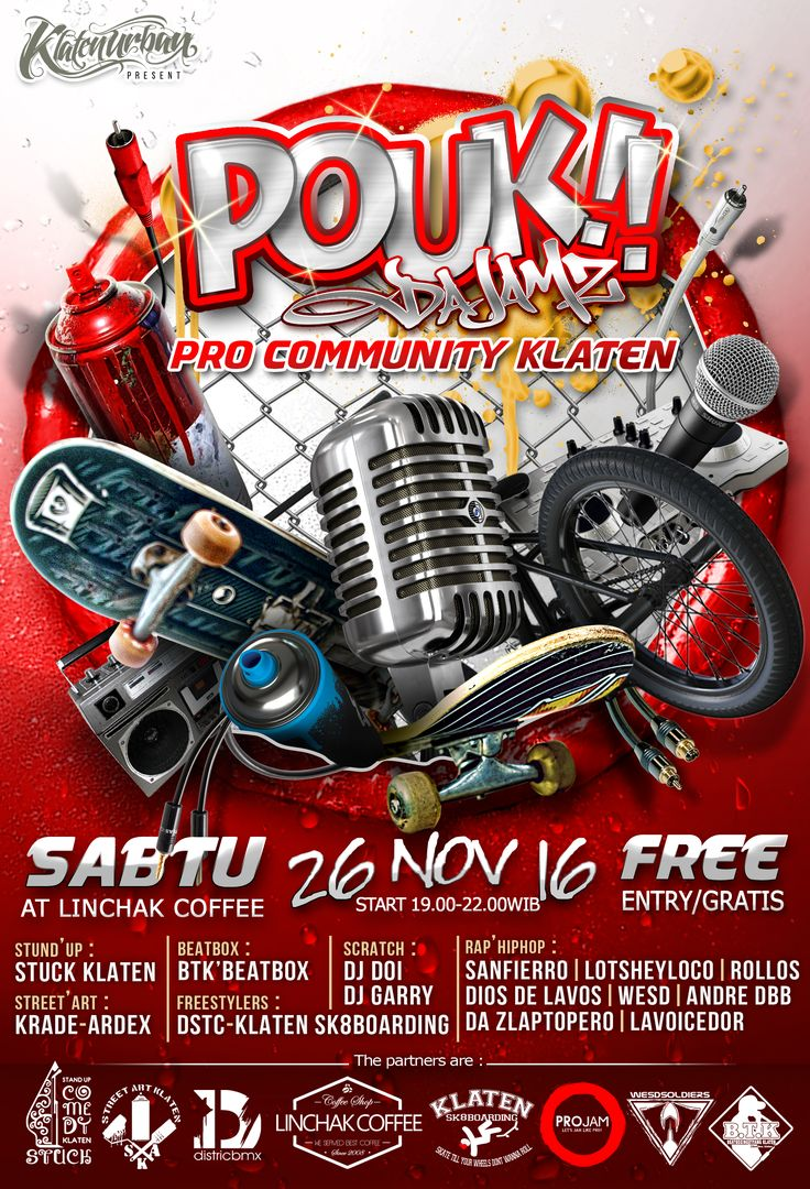 """"""" POUK da JAMZ """"  ( Pro Community Klaten )  Sabtu 26 November 2016 at Linchak Coffee Klaten""""TOWNHouSe""""   Start at 19.00 - 22.00 WIB   Share moment with RAP HIP HOP - SKATEBOARDING - FREESTYLE BMX - STAND'UP COMEDY - BEATBOXING - GRAFFITY   Free Entry .... Please don't Drugs - Alcohol - Weapon ... Just enjoyed and Trhow yo hands in the air on area!!! #Vuayaaaa!!!!! • Big Support by : Linchak Coffee - ProJam ID — bersama ProJam ID, District, Beatboxing Tiyang Klaten, Klate"""