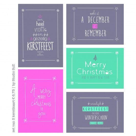 Set van 5 kerstkaartenTijd voor een kaartje. Met deze fijne set kaarten kan je gezellig ouderwets een kaartje sturen per post!De set bestaat uit 5 kaartenformaat A6: 14,8*10,5cm