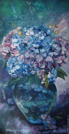 Oil painting / Купить букет гортензии - сиреневый, голубой, цветы, ваза с цветами, голубые цветы, масляная живопись