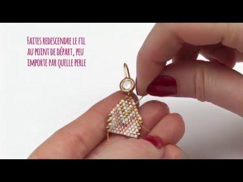 Tuto DIY - Faire ses boucles d'oreilles pastels tissage Brick Stitch de perles Miyuki - Perles & Co - YouTube
