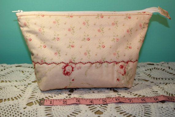 Flat Bottom Bag  Lined  Padded  Soft Pink Floral by KRaeDesign