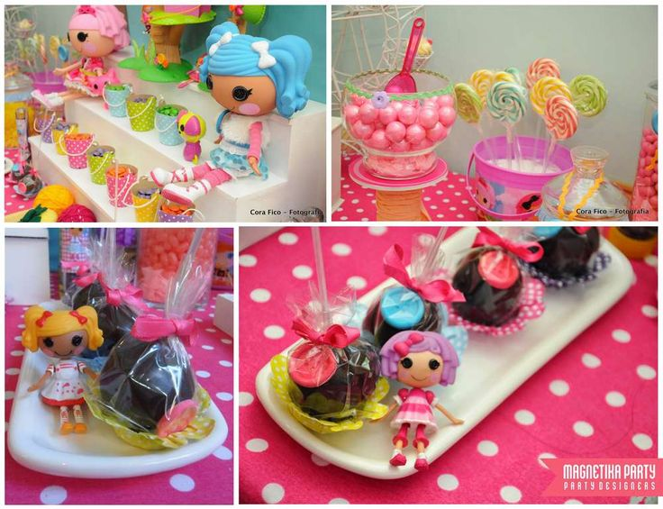 Fun treats at a LaLaloopsy birthday party!  See more party planning ideas at CatchMyParty.com!