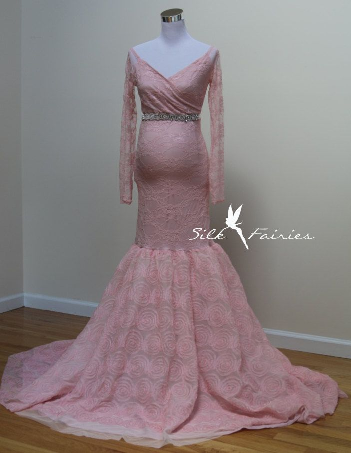 Dinah Deluxe Maternity Blush Pink Gown, Pink Maternity Gown, long sleeves Gown, 3D Flower applique maternity dress, Mermaid MaternityDress by SilkFairies on Etsy