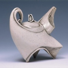 Ceramic teapot by Carol Wedemeyer. Her teapots have such a sense of movement about them!