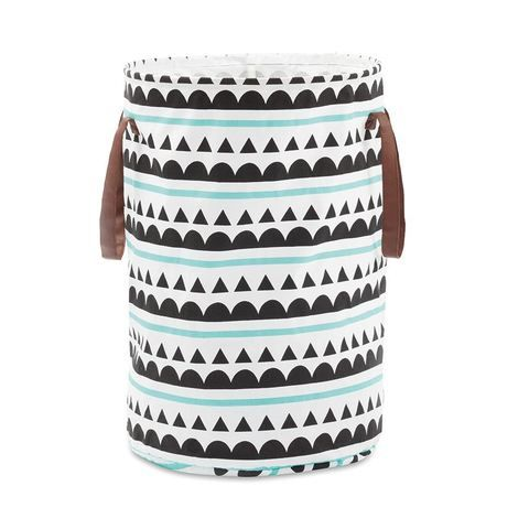 Collapsible Hamper with Handles - Scallop Artwork