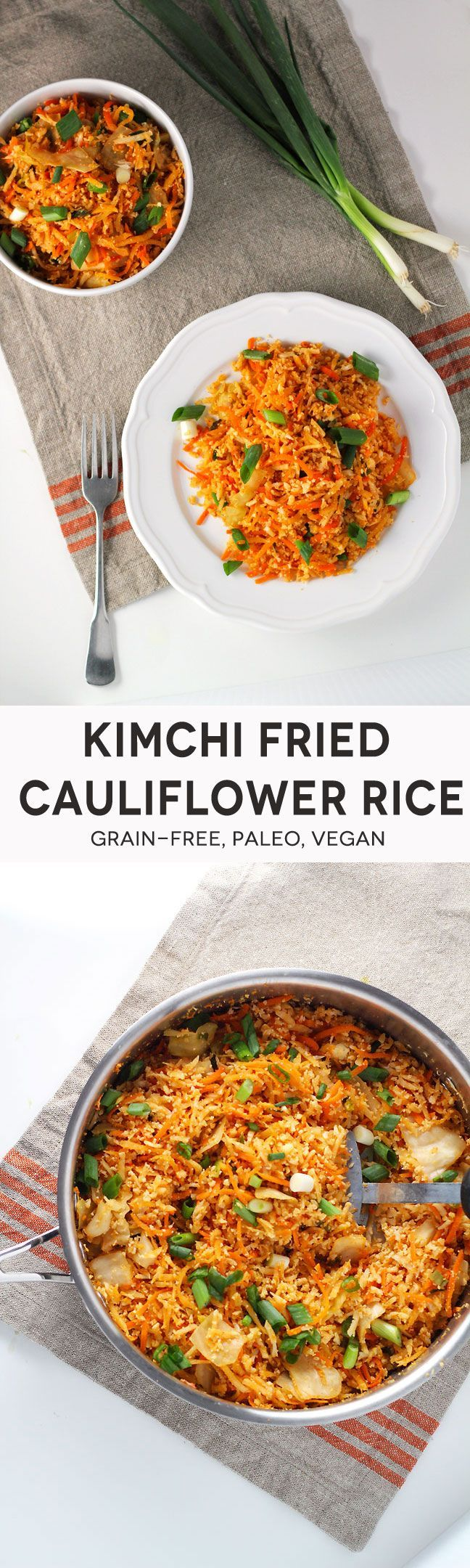 FRIED CAULIFLOWER ONLY THING I WOULD ADD IS MORE OIL LOTS MORE LOL ☺Kimchi Fried Cauliflower Rice