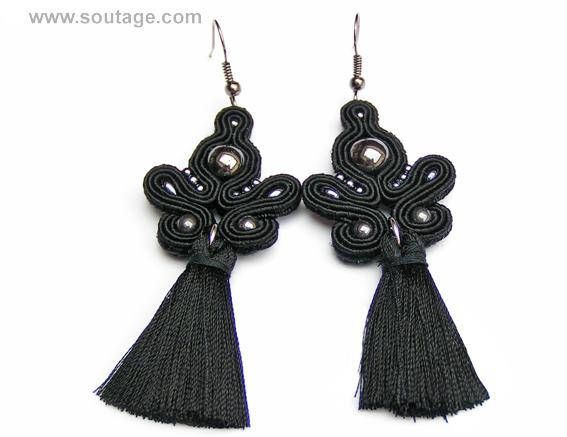 Black Comet earrings are good jewelry for any occasion. Crystals and soutache embroidery are perfect for dressy or casual. Using materials: hematite stones, glass beads, soutache, viscose, silky tassel Length of earring: 7 cm Width of earring: 3 cm Handmade by soutache technique. Its