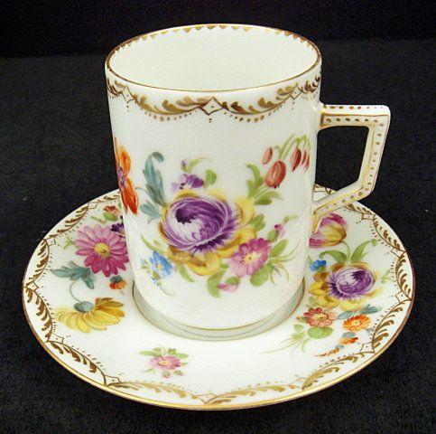 Antique Klemm Dresden Chocolate Cup & Saucer