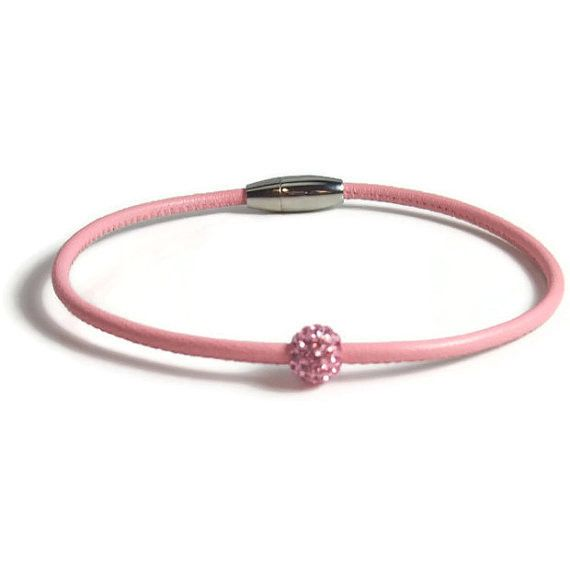 Pink Leather Anklet with Pink Rhinestone