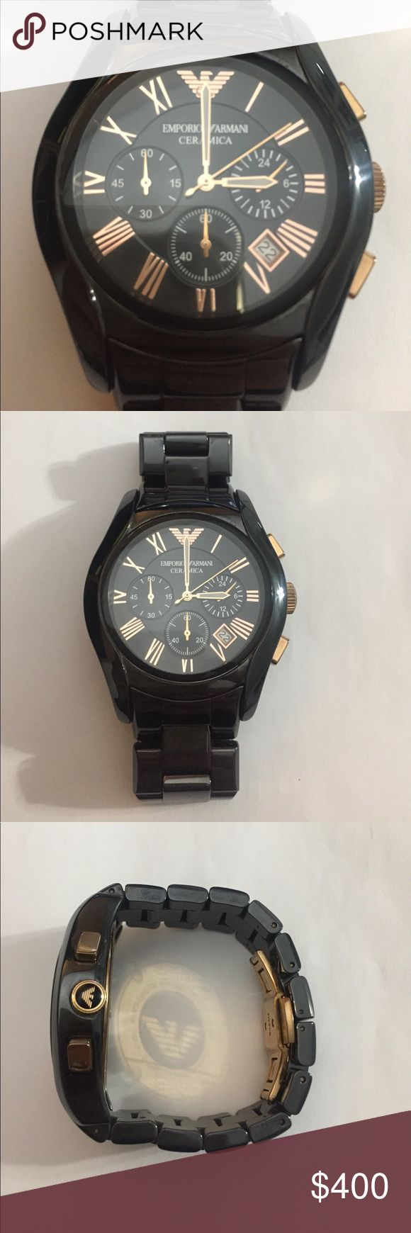 Emporia Armani Watch Emporio Armani Watch Chronograph Black Ceramic Bracelet AR1400. Do not have the box. The links were removed to fit that's why it looks that size. They can be purchased online. Emporio Armani Accessories Watches