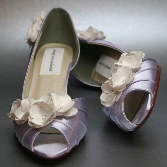 Wedding Shoes Lilac Peeptoe Kitten Heels With Ivory Flowers