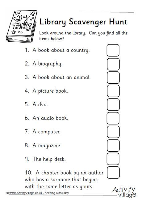 Library scavenger hunt                                                       …