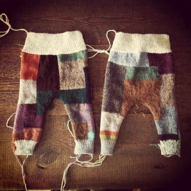 Gummy patchwork hand-knit trousers ready to be assembled from luflux children's wear collection 'A Mouthful of Milk Teeth'