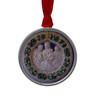 VIRGIN WITH CHILD AND SAINTS Round Blue Sapphire Christmas Tree Ornaments