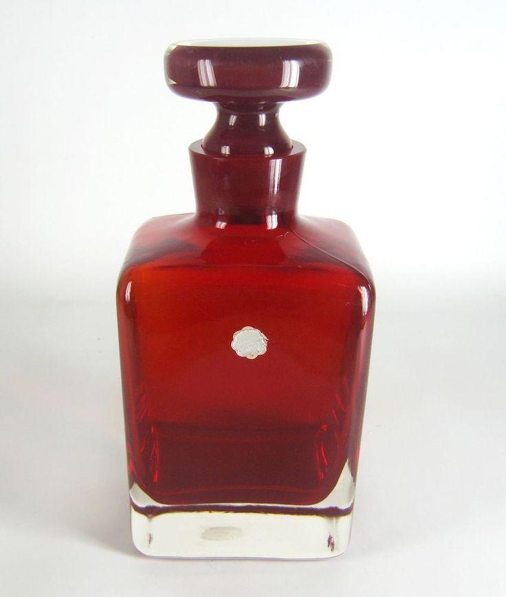 Designer Glas Karaffe Murano Sommerso Glass Decanter ca. 22,5cm RARE