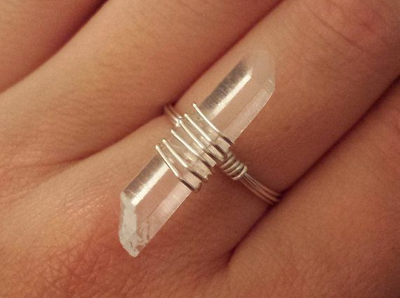 Quartz Crystal Wire Wrapped Ring  $13 from Etsy.com/shop/shelbyjeancustoms