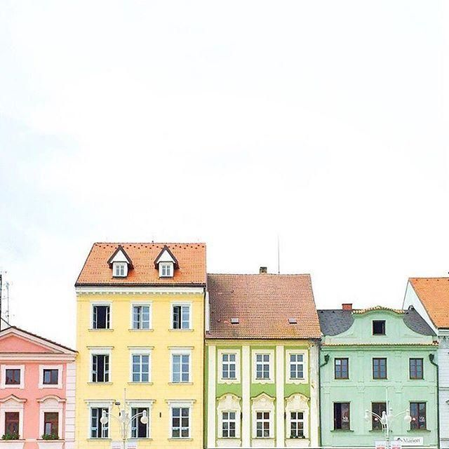 Pretty and sweet pastel houses all in a row are the stuff rainbow dreams are made of!
