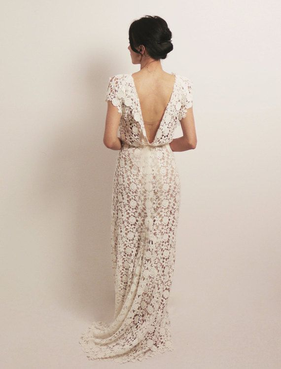 Lace wedding dress boho wedding dress backless wedding by Anaoiss