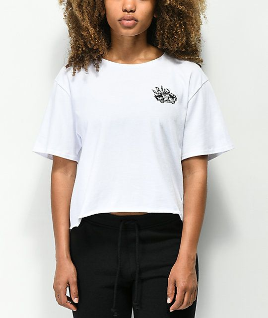 aa4ca04c Vans Off The Wall Flame White Crop T-Shirt in 2019 | t - s h i r t s ...