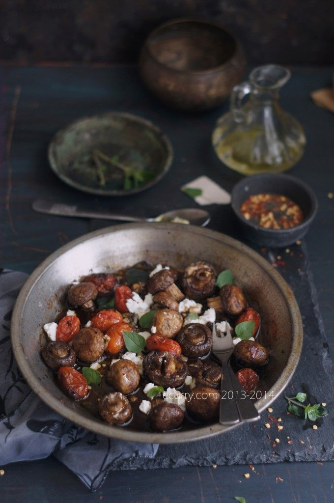 Balsamic Roasted Mushrooms with Goat Cheese.
