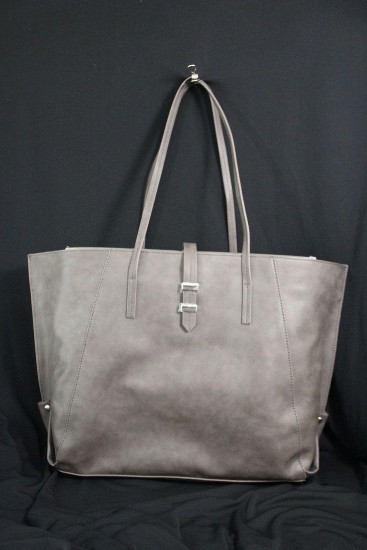 Gray Faux Leather Shoulder Bag New Banana Republic Purse Sophisticated Women Large Handbag