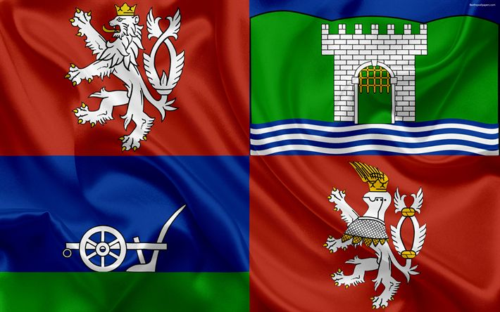 Download wallpapers Flag of Ustecky region, silk flag, 4?, official symbols, flags of administrative units, Czech Republic, ???st? nad Labem Region, Usti nad Labem Region