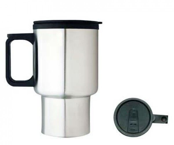 TRAVEL MUGS – M08  Price includes 1 color, 1 position print   2 Color imprint available for an additional charge  Capacity: 425ml.  Product size: 85mm x 150mm  Interior: Plastic.  Exterior: Stainless Steel. Double Wall.  Packaging: White box  Decoration option: Pad print, Screen print, Laser engrave, Heat transfer  Printing Size: 40mm x 40 mm  Laser Engraving Size: 30mm x 40 mm